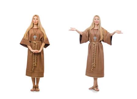 Christian woman isolated on the white Zdjęcie Seryjne