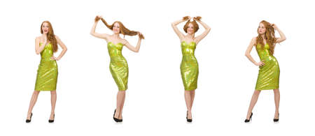Red hair girl in sparkling green dress isolated on white Stock Photo