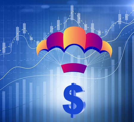 The concept with dollar in golden parachute illustration