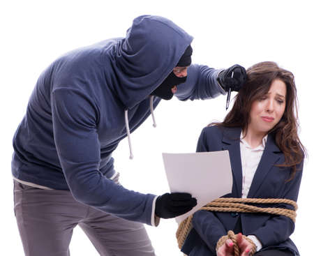 Gunman forcing a woman isolated on white