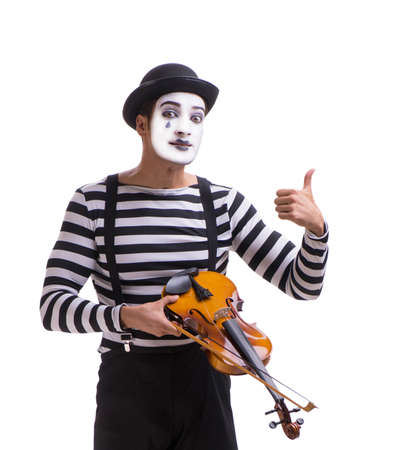 Mime playing violin isolated on white Stock Photo