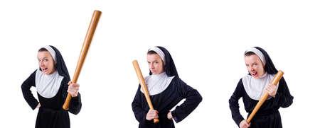 Nun with baseball bat on white Standard-Bild