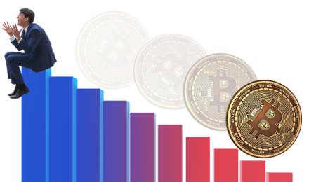 The businessman sad about bitcoin price crash