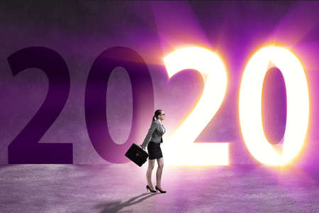 Businesswoman and concept of new year 2020 Stock Photo - 135294713