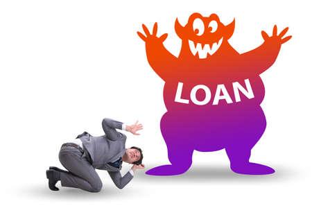 Businessman in debt and loan concept Stock fotó