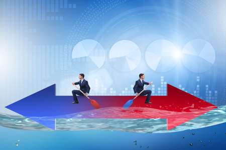 Disagreement concept with businessmen rowing in different direct Banco de Imagens