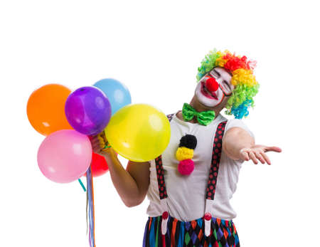 Funny clown with balloons isolated on white background Stock fotó