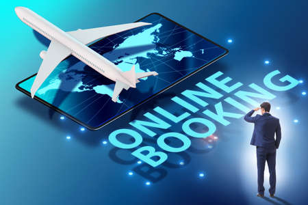 Concept of online airtravel booking with businessman
