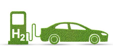 Concepto de coche de hidrógeno - representación 3d
