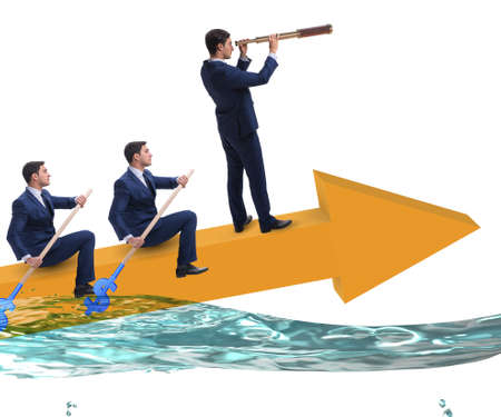 The teamwork concept with businessmen on boat