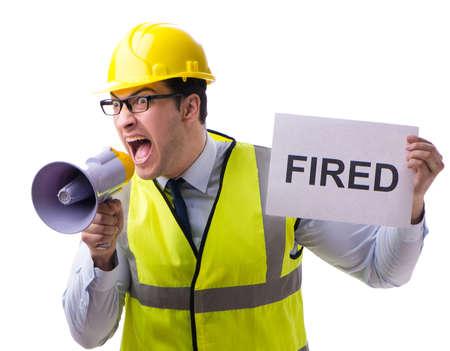 Construction supervisor in dismissal concept isolated on white b