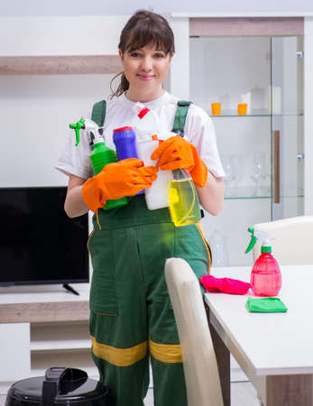 Professional cleaning contractor working at home Stock Photo