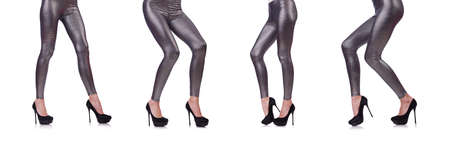 Woman legs in long stockings Stock Photo