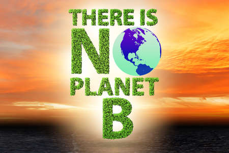 The ecological concept - there is no planet b - 3d rendering 版權商用圖片