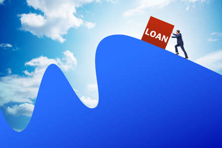 The debt and loan concept with businessman