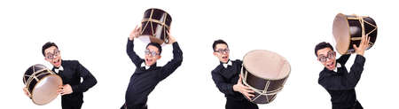 Funny man with drum on white Stock Photo