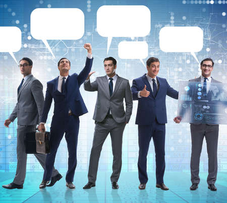 The businessmen with callout bubble blank message