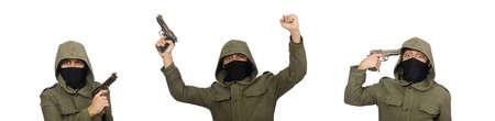Masked man in criminal concept on white 版權商用圖片