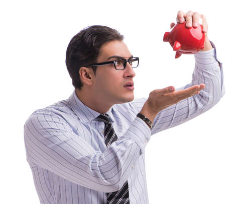 Young businessman with piggybank isolated on white background Stock fotó
