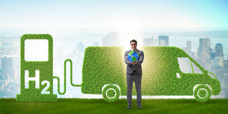 Hydrogen car concept in ecological transportation concept
