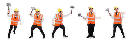 Construction worker with hammer isolated on white Banco de Imagens