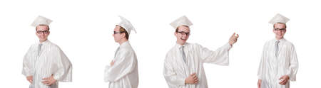 Young male student graduated from high school on white