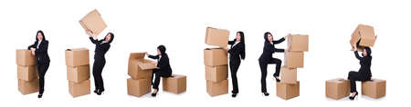 Woman with lots of boxes on white