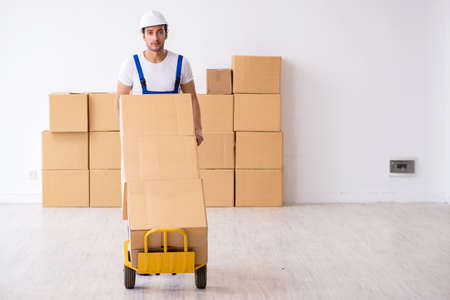Young male professional mover doing home relocation