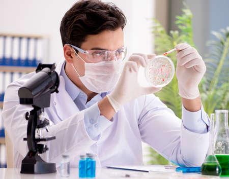 Il medico maschio che lavora in laboratorio sul vaccino contro il virus