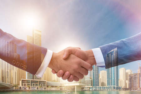Businessman shaking hands in agreement Stok Fotoğraf