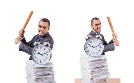 Angry man with stack of papers and baseball bat isolated on whit
