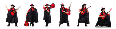 Young man in carnival coat with guitar isolated on white Imagens
