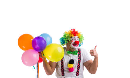 The funny clown with balloons isolated on white background