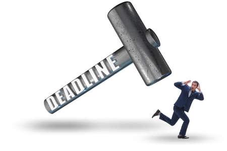 Businessman failing to meet the deadline Stockfoto