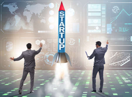 The start-up concept with rocket and businessman