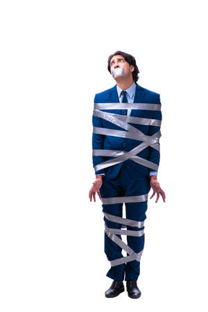 Tied employee with tape on mouth isolated on white Stock Photo