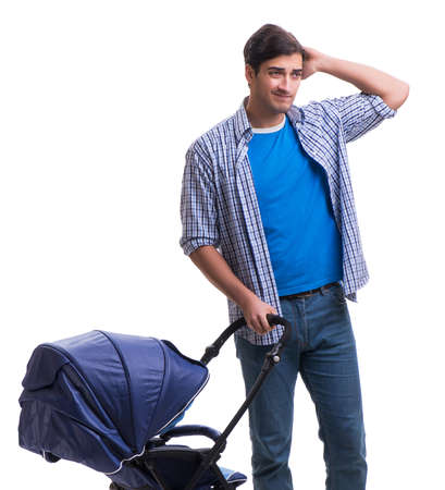 The young dad with child pram isolated on white