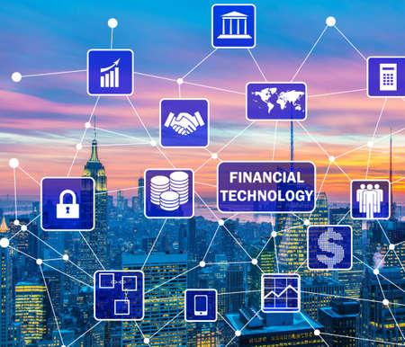 Smart city concept with fintech financial technology concept Stock fotó