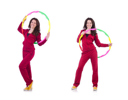 Woman doing exercises with hoop 스톡 콘텐츠