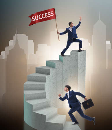Businessman with success banner in business concept