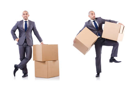 Businessman with box isolated on the white background