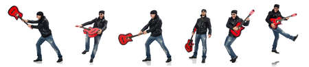 The guitar player isolated on the white Banque d'images - 138652023