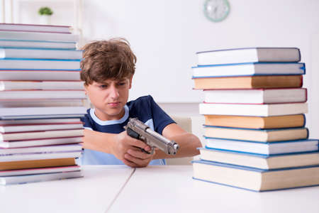 Young student stressed due to excessive studies