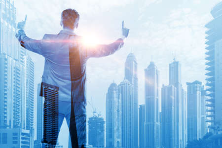 The successful businessman against cityscape in business concept Stock fotó