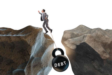The concept of debt and load with businessman