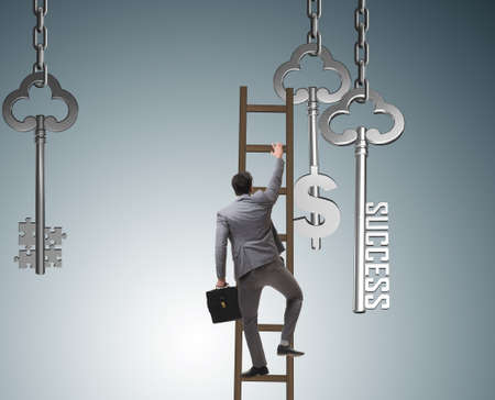 The businessman in key to financial success concept