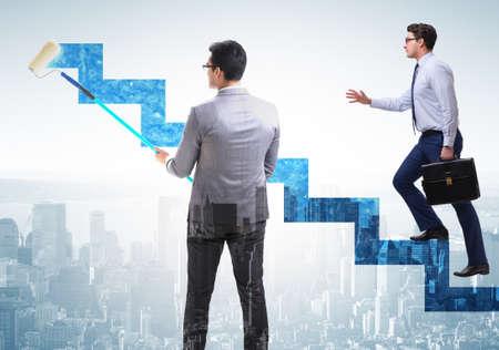 Homme d'affaires dans le concept d'échelle de carrière Banque d'images