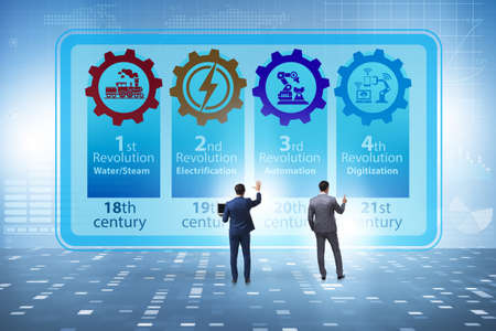 The industry 4.0 concept and stages of development Banco de Imagens