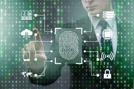 El concepto de acceso de seguridad biométrica con huella dactilar