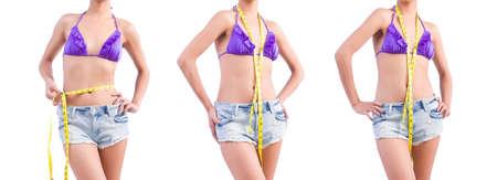 The woman in bikini in diet concept isolated on white Banco de Imagens